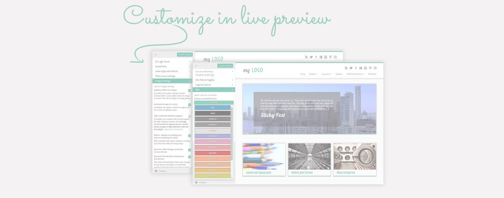 在WordPress中的個性化定制中很多樣式和設計選項都可用,等著看您的網站成果啦!